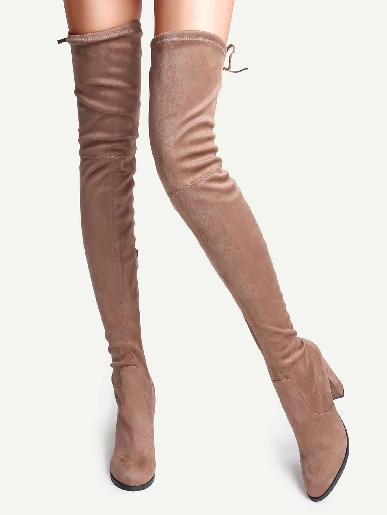 Camel Faux Suede Point Toe Tie Back Knee BootsCamel Faux Suede Point Toe Tie Back Knee Boots<br><br>color: Brown<br>size: US11