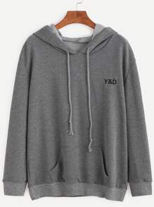Grey Letter Embroidered Hooded Sweatshirt