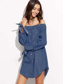 Blue Off The Shoulder Tie Sleeve Button Denim Dress