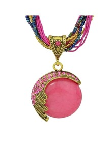 Hotpink Beads Chain Pendant Necklace