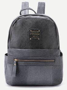 Grey Metallic Embellished PU Backpack