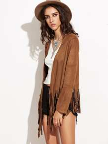 Brown Suede Open Front Fringe Jacket