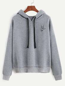 Grey Gesture Print Hooded Sweatshirt