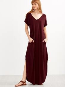 Burgundy Curved Hem Slit Maxi Tee Dress