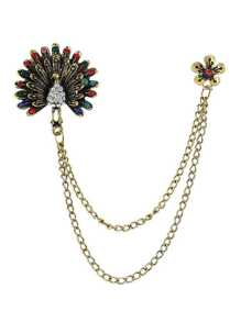 Colorful Rhinestone Peacock Shape Long Chain Brooch