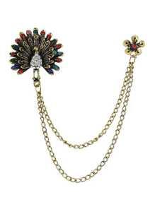 Colorful Rhinestone Peacock Shape Long Chain Brooch