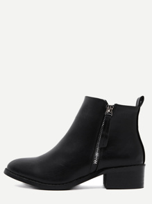 Black Faux Leather Side Zipper Ankle Boots