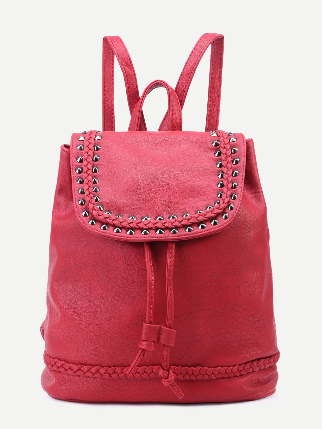 Red PU Studded Drawstring Flap Backpack Image