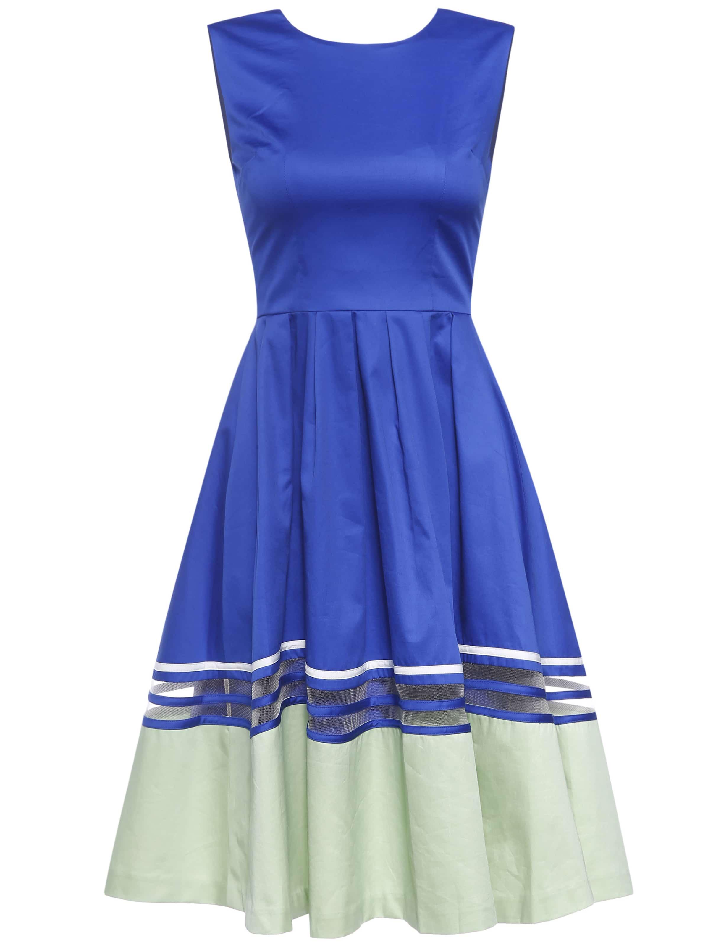 Купить со скидкой Blue Sheer Color Block A-Line Dress