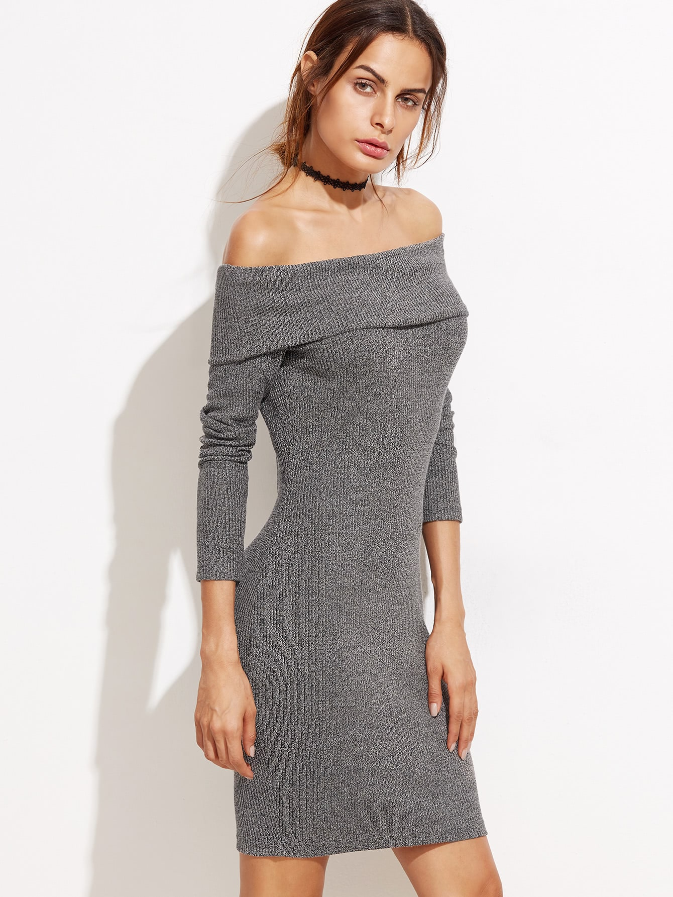 Heather Grey Foldover Off The Shoulder Ribbed Dress dress160929707