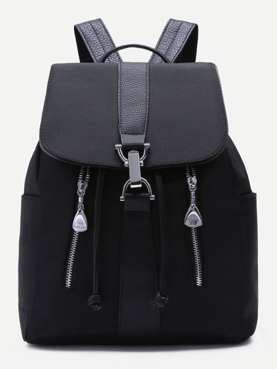 Black Front Zipper Buckle Strap Flap Nylon Backpack