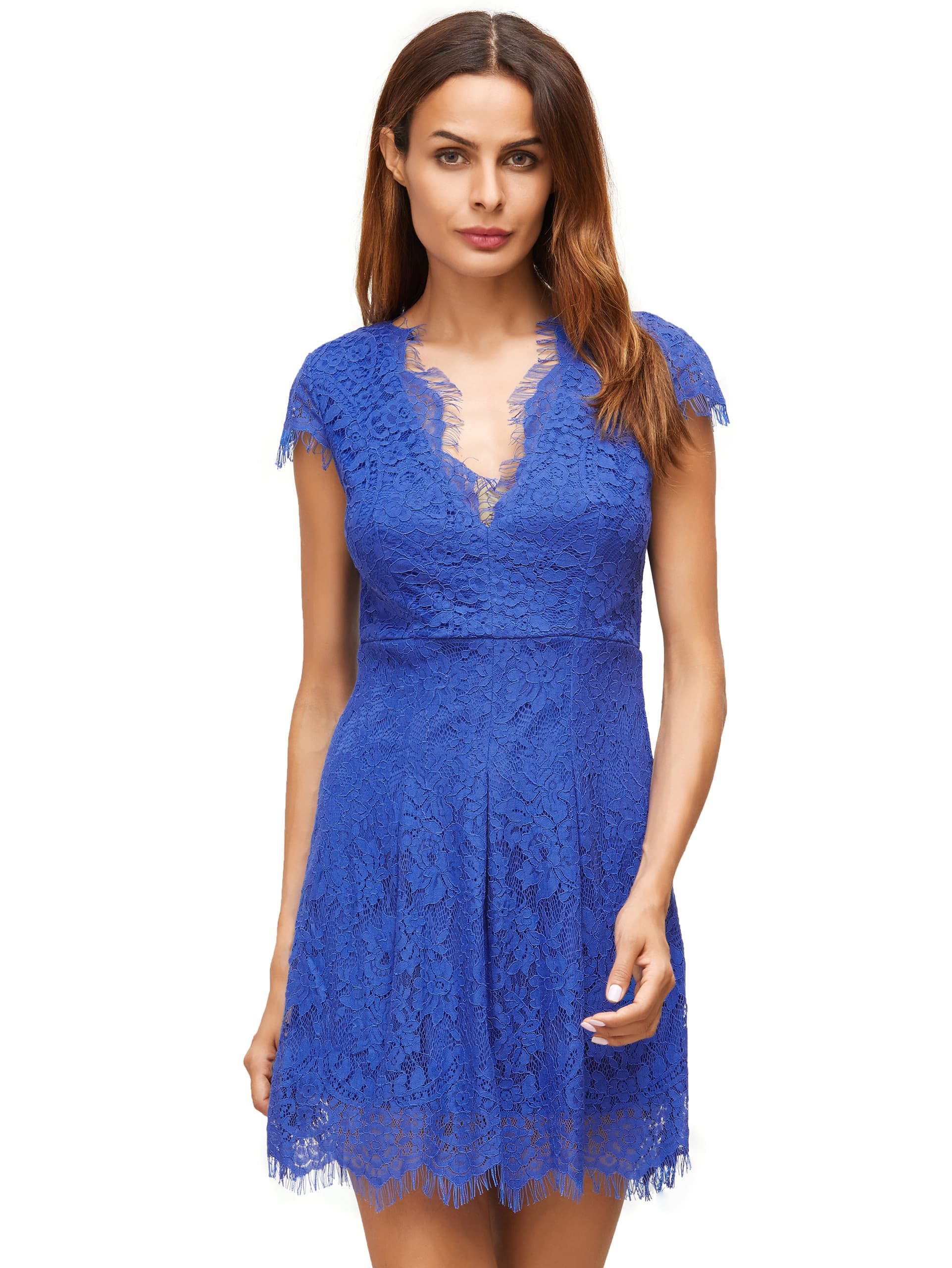 Royal Blue Deep V Neck Cap Sleeve Lace Dress