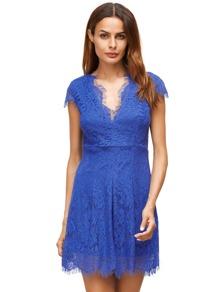Royal Blue Deep V cuello manga de encaje vestido de encaje