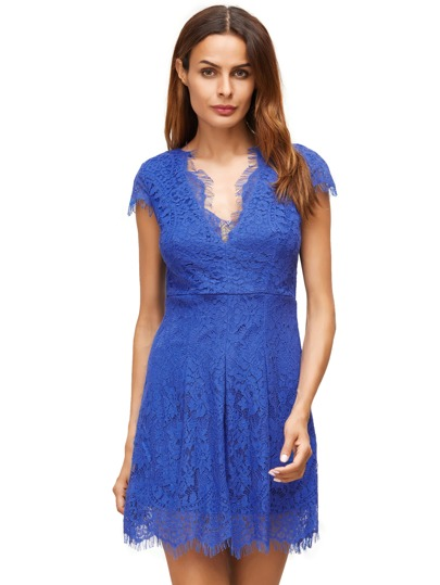 Dress Royal Blue profondo scollo a V maniche ad aletta pizzo