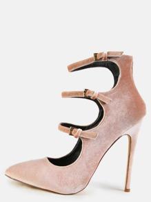 Stiletto Multi Strap Velvet Heels NUDE