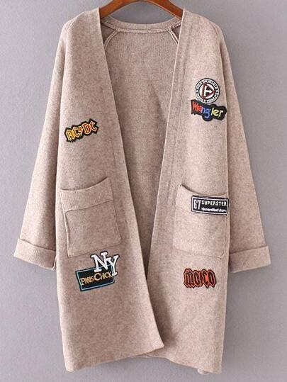 Khaki Raglan Sleeve Patch Long Cardigan With Pockets
