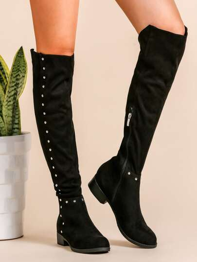 Black Faux Suede Point Toe Knee Boots