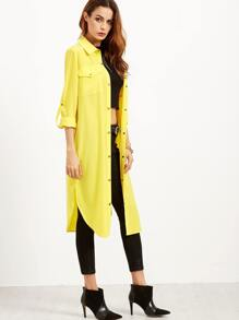 Yellow Roll Tab Sleeve Button Up Duster Coat