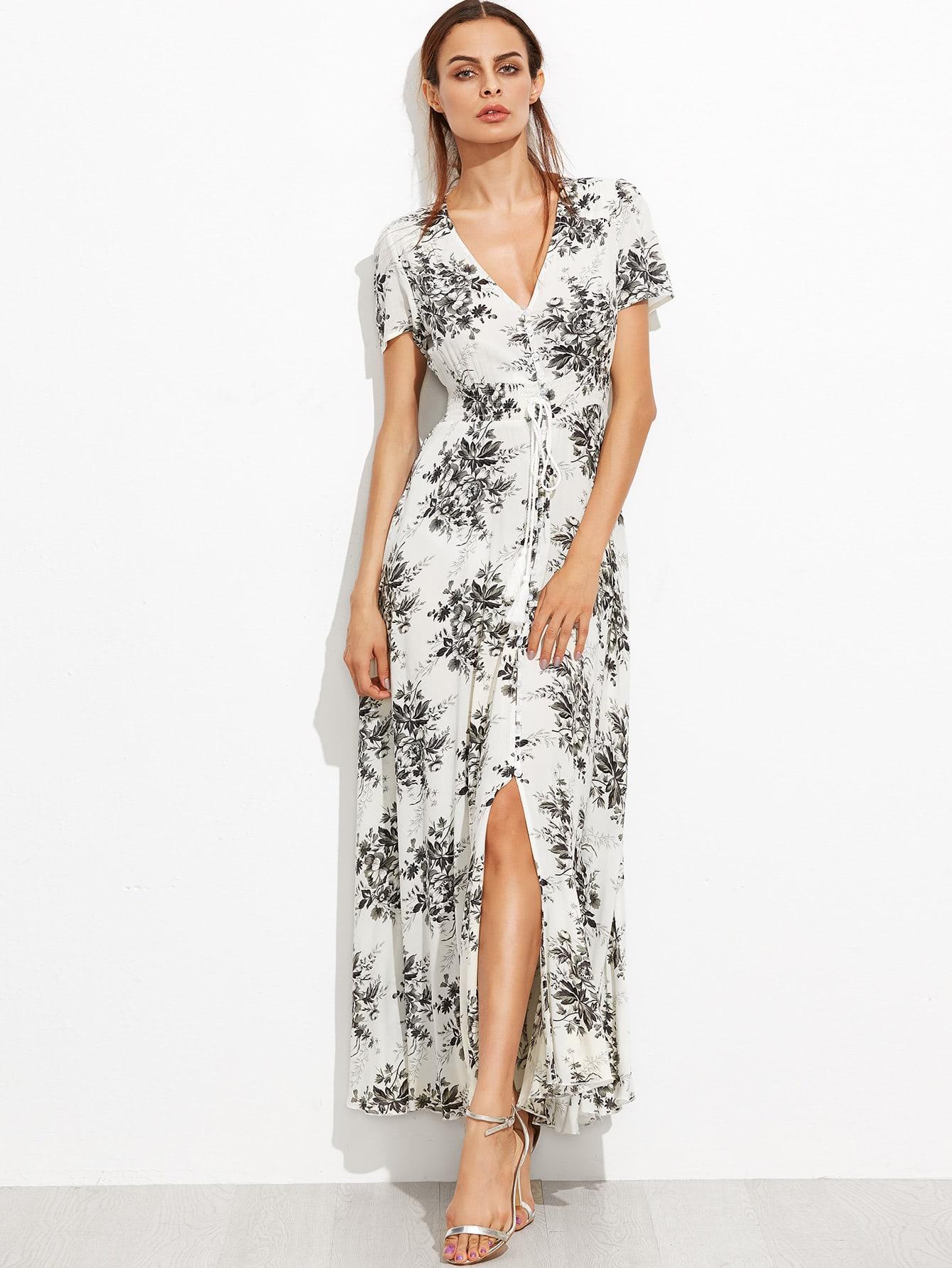 Ditsy Print Plunging V-Neckline Tie Detail Split Front Dress crisscross surplice neckline tie detail tropical print blouse