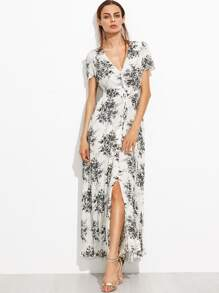 White Floral Deep V Neck Tie Detail Split Front Dress