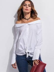 White Off The Shoulder Super Long Sleeve Shirt