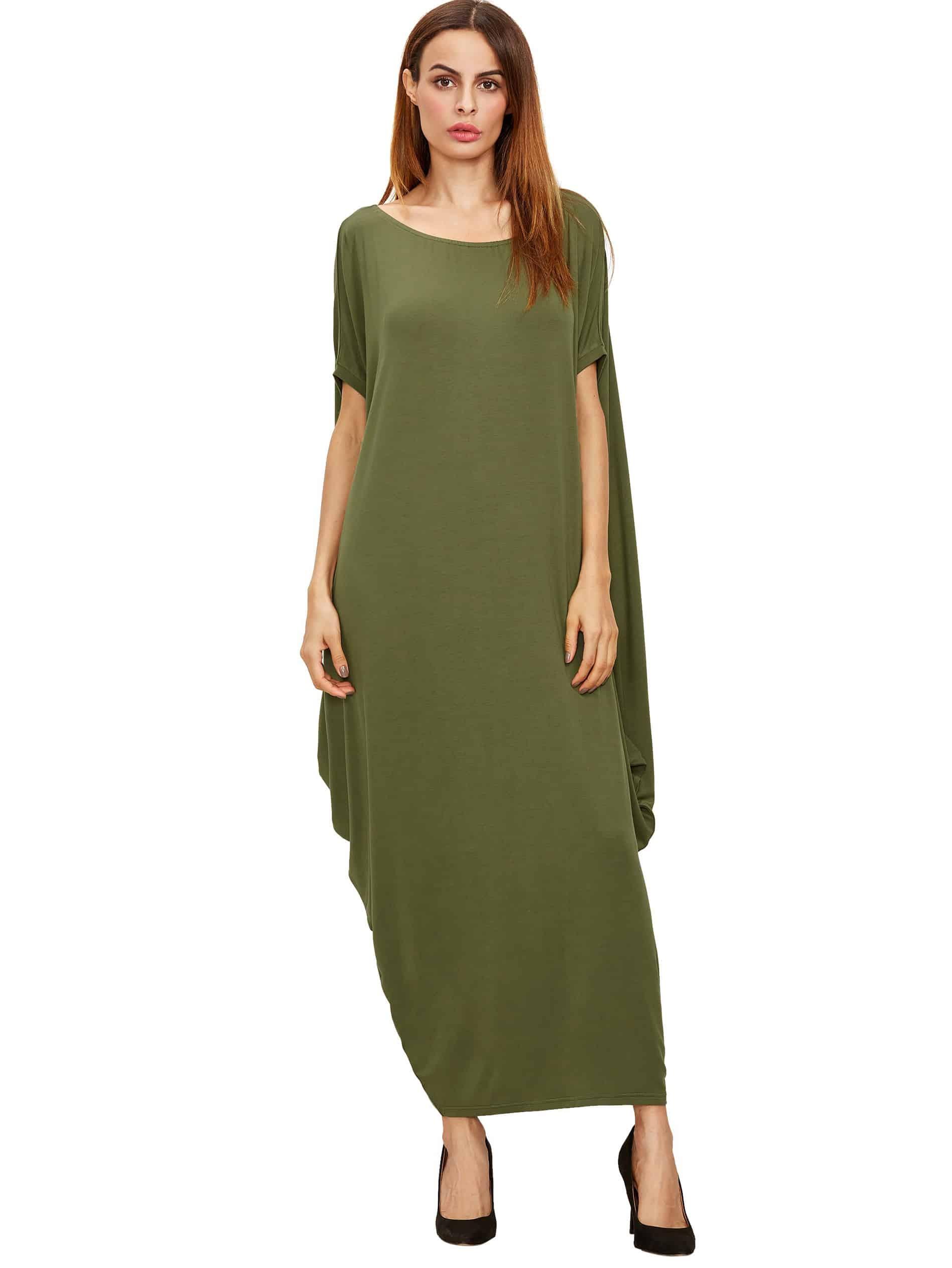 Green one shoulder dolman sleeve maxi dress shein sheinside for Dolman sleeve wedding dress