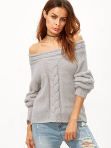 Grey Cable Knit Off The Shoulder Sweater
