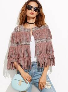 Pink Collarless Tweed Jacket With Fringe Detail