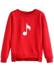 Red Music Note Print High Low Sweatshirt