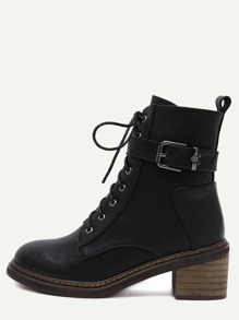 Black Faux Leather Cork Heel Martin Boots