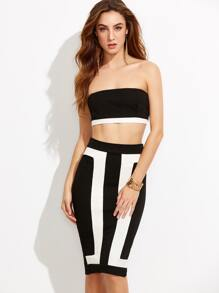 Black and White Bandeau Crop Top With Skinny Split Skirt