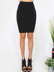 Black Zipper Back Stretchy Skinny Skirt