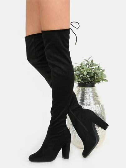 Chunky Heel Suede Thigh Boots BLACK