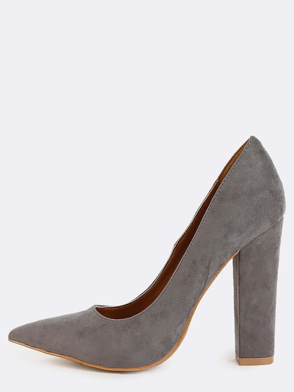 Chunky Heel Pointed Toe Pumps GREY -SheIn(Sheinside)