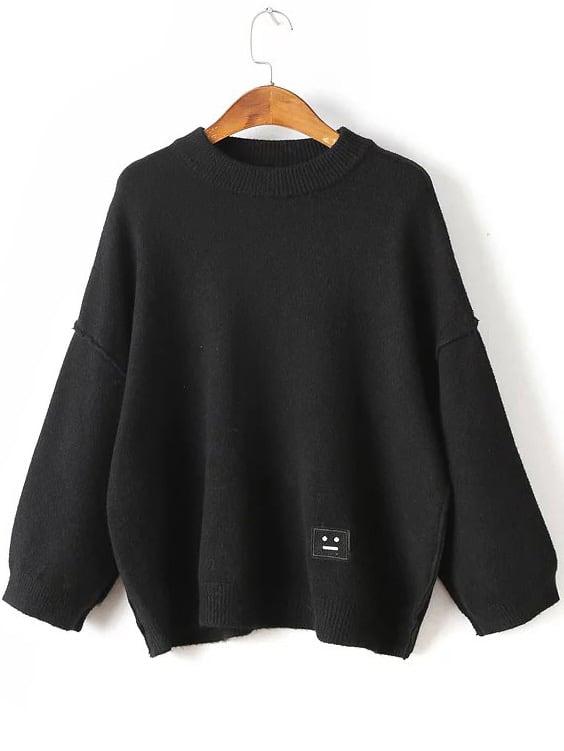 Black Face Patch Drop Shoulder SweaterBlack Face Patch Drop Shoulder Sweater<br><br>color: Black<br>size: one-size