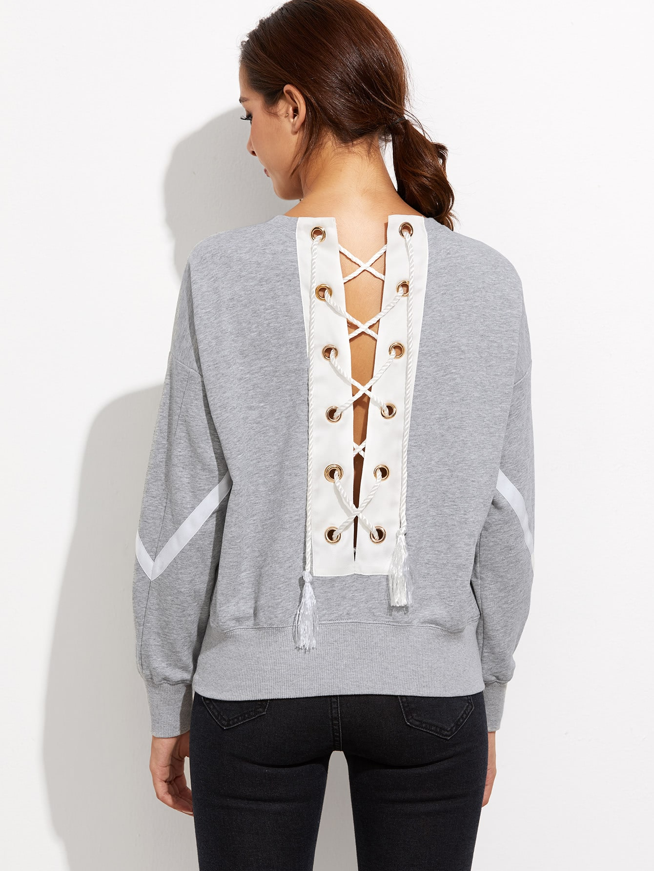 Grey Lace Up Back Drop Shoulder Stripe SweatshirtGrey Lace Up Back Drop Shoulder Stripe Sweatshirt<br><br>color: Grey<br>size: M,S