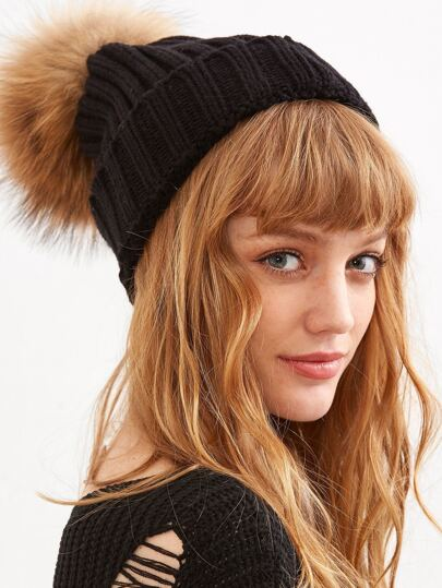 Black Detachable Fur Pom Ribbed Knit Beanie