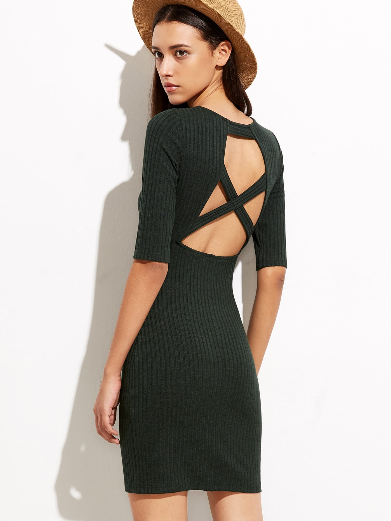 Olive Green Cutout Crisscross Back Ribbed Sheath Dress dress160921704