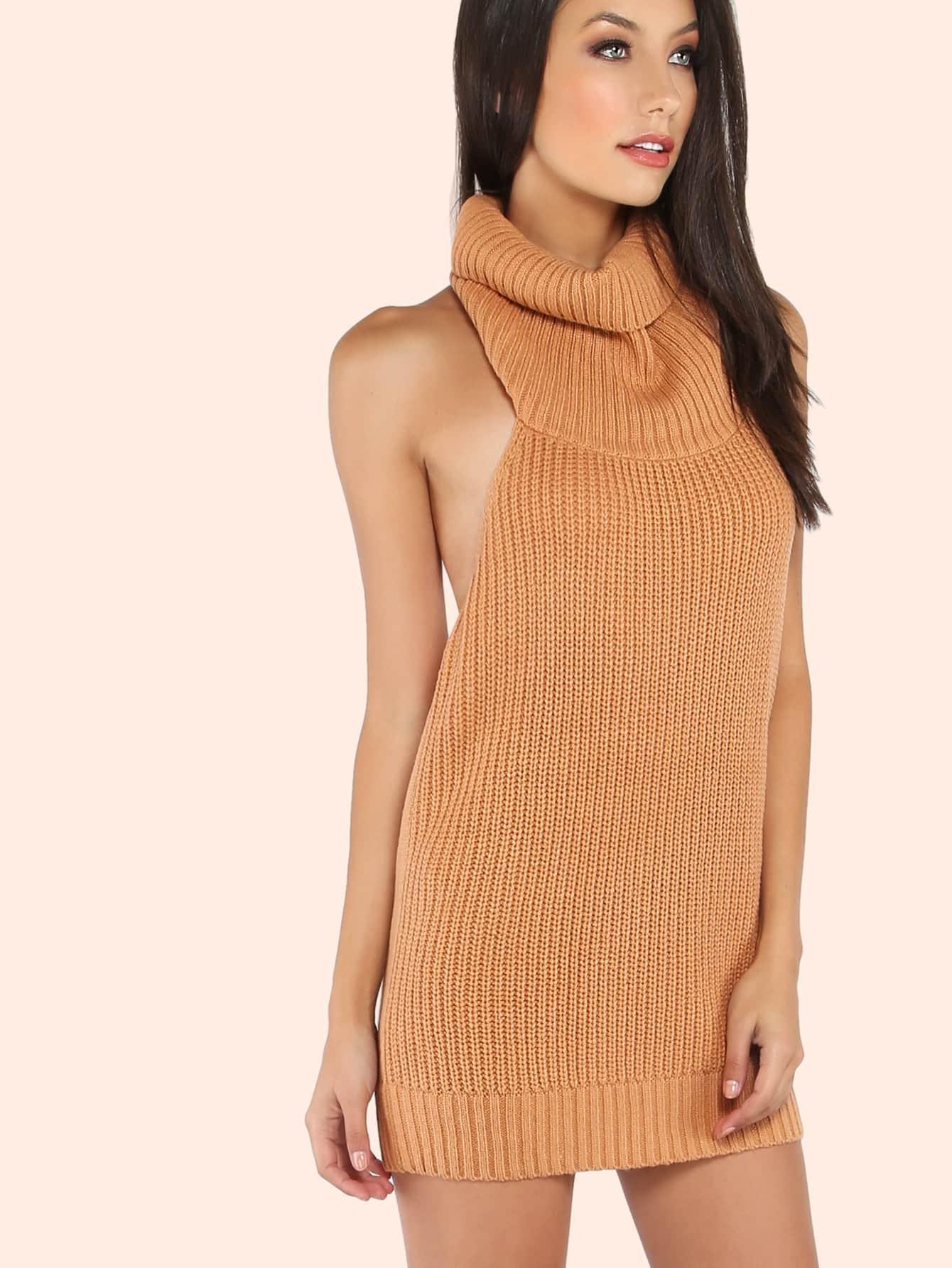 Low Back Cowl Neck Mini Sweater Dress TAN -SheIn(Sheinside)