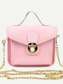 Pink Pebbled PU Flap Chain Bag