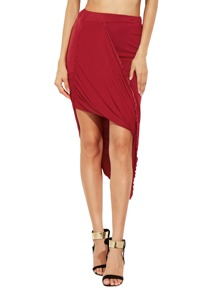 Draped Slim Bodycon Asymmetrical Skirt