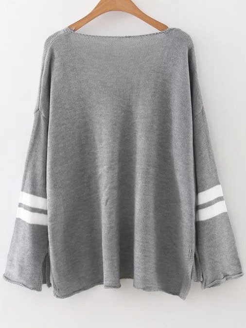 Grey Striped V Neck High Low Sweater