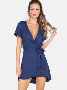 Navy Tie Waist Short Sleeve Surplice Dress