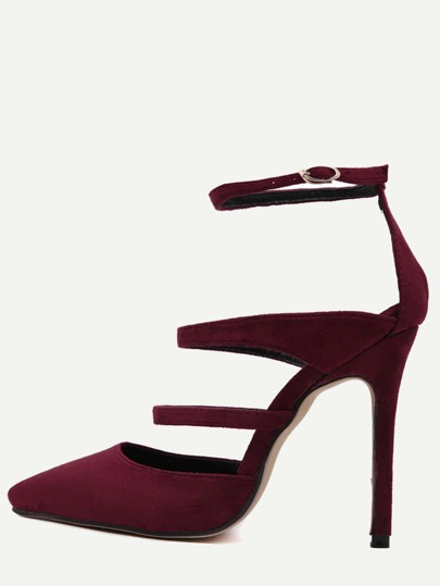 Burgundy Faux Suede Point Toe Mary Jane Pumps