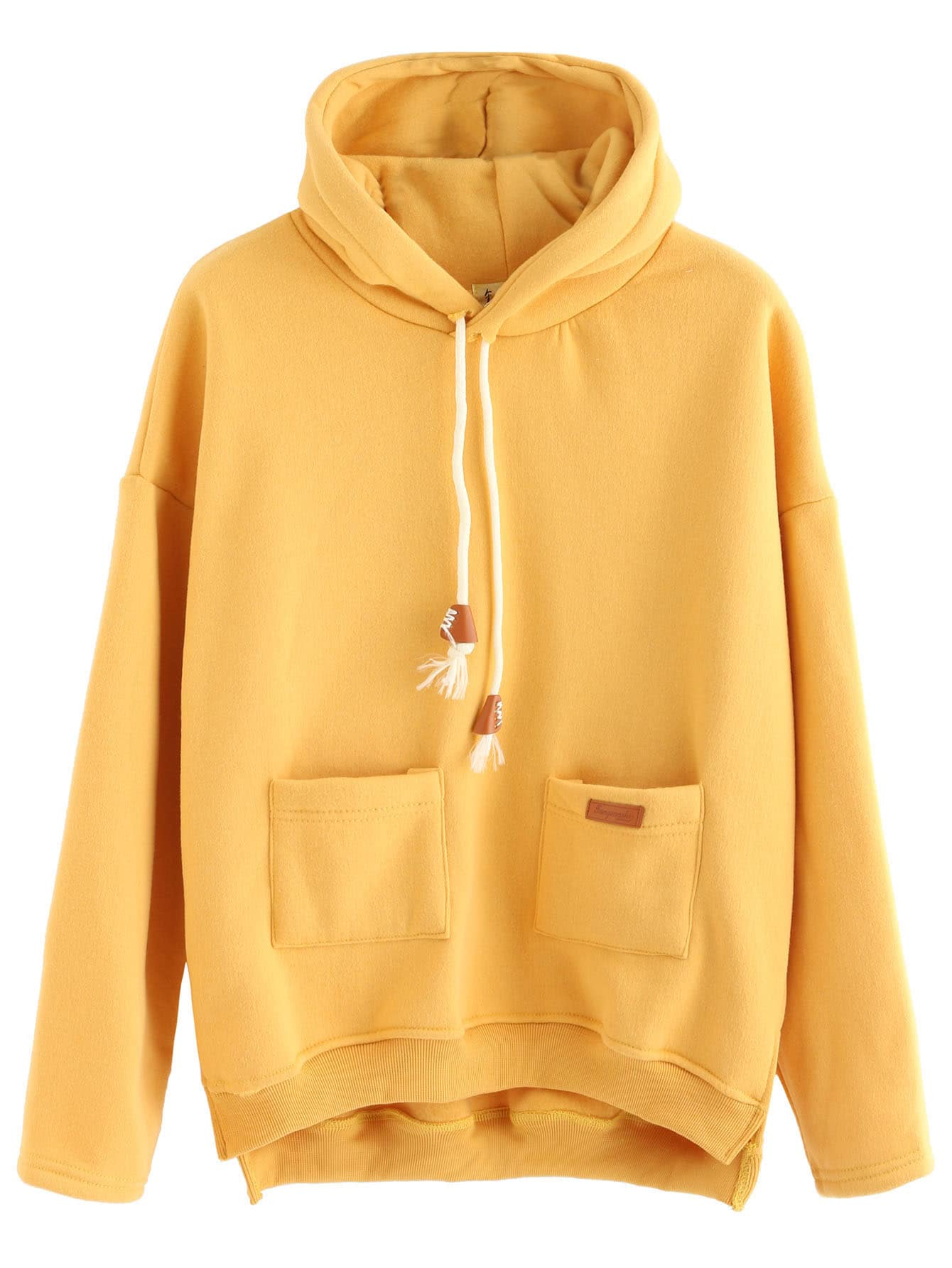 Yellow Slit Side High Low Hooded SweatshirtYellow Slit Side High Low Hooded Sweatshirt<br><br>color: Yellow<br>size: one-size