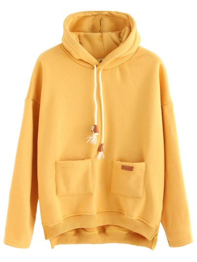 Slit Side High Low Hooded Sweatshirt With Pocket