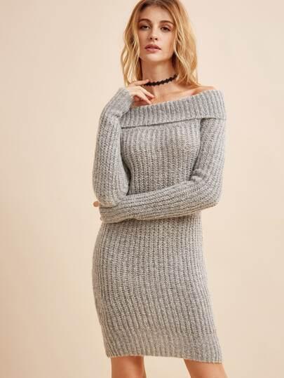 Fold Over Bardot Ribbed Knit Dress