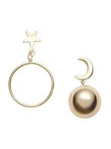 Gold Moon Ball Star Hoop Asymmetrical Earrings