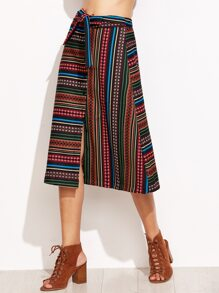 Multicolor Striped Self Tie Button Front Skirt
