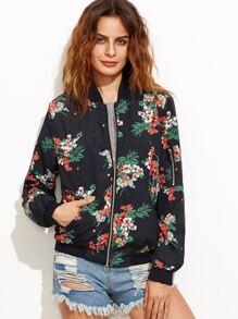 Black Floral Print Bomber Jacket With Zipper